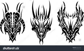 philippines eagle tattoo dragon head tattoothree variations tribal style stock vector