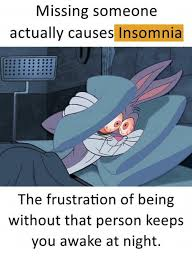 Insomnia Meme - missing someone actually causes insomnia the frustration of being