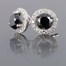 black diamond earrings studs and white diamond earrings 65 carat total weight 3 prong