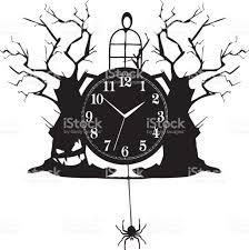 Halloween Holiday In Usa Vintage Clock For Halloween Stock Vector Art 655623580 Istock