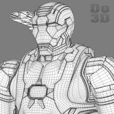 3d printable model of iron man patriot armor suit from iron man 3