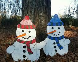 Snowman Lawn Decorations Wooden Snowman Outdoor Or Indoor Snowman