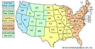 usa map with time zones and cities time zone