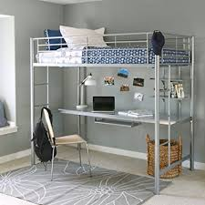 twin metal loft bed with desk and shelving amazon com walker edison twin metal loft bed with workstation