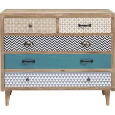 meuble commode chambre commode en bois aux cinq tiroirs dépareillés kare design