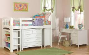Kids Bedroom Furniture Collections Bedroom White Wooden Girls Loft Bed With Desk And Drawers For
