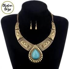 boho choker necklace images Vintage african boho choker necklace collar earrings jewelry set jpg