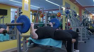 Bodybuilder Bench Press Muscular Bodybuilder Bench Press Workout In The Gym Stock