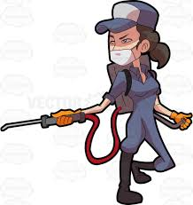 cosmopolitan clipart a female exterminator operating a pest control equipment