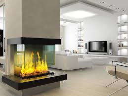 spectacular stand alone fireplace with floating glass screen on