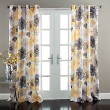 Yellow Brown Curtains Window Curtains Yellow Grey Set Walmart