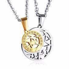 aliexpress moon necklace images Hot sale romantic couple necklace moon sun pendant necklace jpg