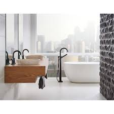 brizo 65375lf bl odin matte black two handle widespread bathroom