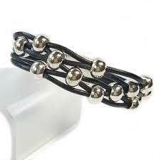 bracelet beads leather images Black leather and silver bead bracelet for women is classic and jpg