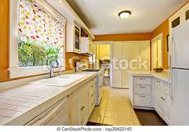 white kitchen cabinets with tile floor classic american kitchen room interior with white cabinets tile floor