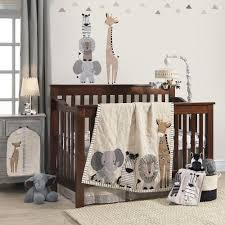 Crib Bedding Jungle Lambs Signature Tanzania Gray Safari 4 Crib