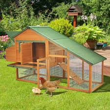 aosom pawhut deluxe backyard wooden chicken coop w run