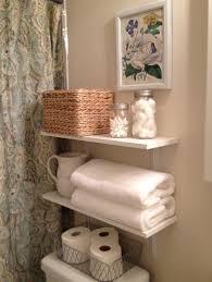 simple creative bathroom storage white wooden floating shelf metal