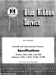 International Harvester 340 460 560 Tractor Service Manual U2013 Two