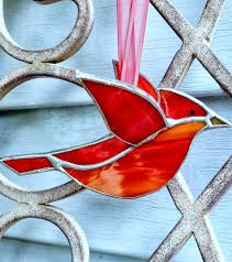 cardinal 3d stained glass bird window hanging ornament