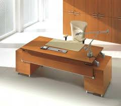Chrome Office Desk Adorable Brown Wooden Office Desk Designs With Two Levels Plus