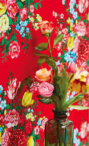 bouquet en papier papier peint rouge vif à larges bouquets de fleur bohême et