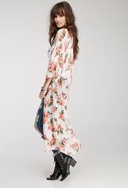 forever 21 longline rose print kimono lyst