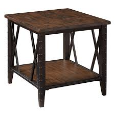 rustic pine end table magnussen fleming rectangle rustic pine wood and metal end table