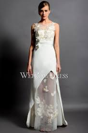 wedding dress and bateau style white floral