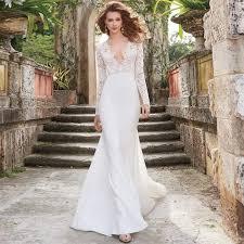 designer wedding gowns sleeve lace wedding dresses plunging neckline ivory