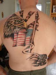 traditional american flag and eagle colored patriotic tattoo on