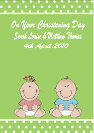 Happy Christening Invitation Card Personalised Boy Twins Christening Card 1