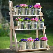 plant pot stand 3 tier flower shelf wood outdoor indoor display