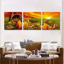 3 pieces unframed canvas print pumpkin painting wall art oil