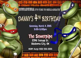 teenage mutant ninja turtles birthday invitations teenage mutant