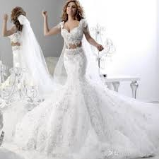 two wedding dress gorgeous two mermaid wedding dresses v neck applique