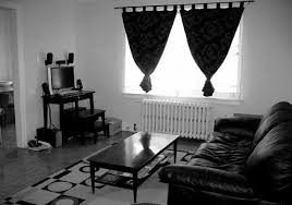 Black Living Room Curtains Ideas Interior Design Black Leather Connected By Curtain On The