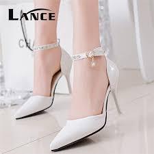 Womens White Shoes Heels Qu Heel