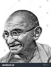 black white mahatma gandhi sketch isolated stock photo 5497477