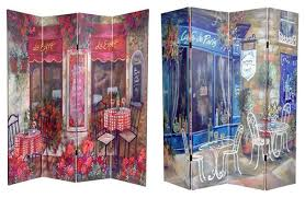 Tension Rod Room Divider 6 U0027 Tall Double Sided Parisian Cafe Canvas Room Divider Eclectic