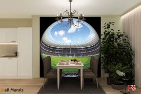 Football Wall Murals by Mural Spherical Football Field