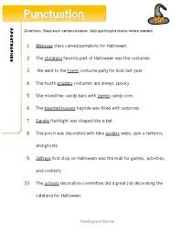 halloween punctuation worksheets quotation marks and apostrophes