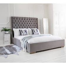 Grey Bed Frame Gray Tufted Frame King Grey Decor Light Metal Fabric Bedroom