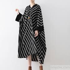 2017 autumn black white striped cotton dresses patchwork plus size
