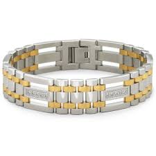 stainless bracelet images Mens two tone stainless steel cubic zirconia bracelet jcpenney