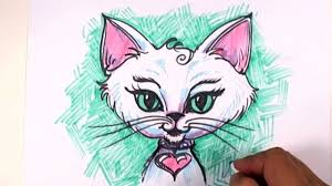 fantasy cat drawing lesson draw an exotic kitten face mat