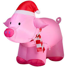 home accents holiday 3 ft lighted inflatable outdoor pig 36830
