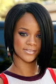 bob sew in hairstyle rihanna inspired side part short bob black color human hair