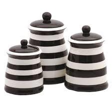 black ceramic kitchen canisters black white striped ceramic kitchen canister set in the