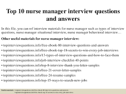 Nurse Manager Resume Examples by Top10nursemanagerinterviewquestionsandanswers 150405213439 Conversion Gate01 Thumbnail 4 Jpg Cb U003d1504885520